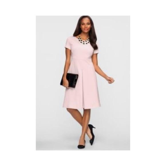 c3f1dba3938 Talbots Ponte Fit Flare Dress Blush Pink Size 10. M 5b465289aaa5b8c54dabe179